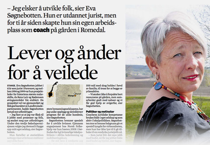 Eva Søgnebotten/BeNow: Lever og ånder for å veilede (Nationen 2011)